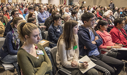 Capacity crowd fills Harvey Morse Auditorium for the Research
